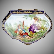 "MASTERPIECE  11""  19C French Porcelain Artist Signed Casket Hinged Box  ""  Magnificent Pastoral Scenes"""