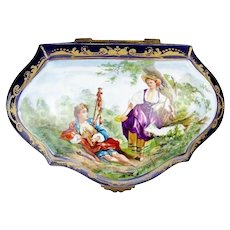 "MASTERPIECE  11""  19C French Porcelain Artist Signed Casket Hinged Box  ""  Magnificent Pastoral Scenes"""