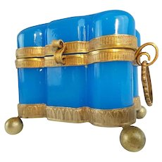 Antique French Blue Opaline Double Handle Hinged Box ~ Fabulous Bronze Mounts, Double Handles and Footed Base ~ Exquisite Shape