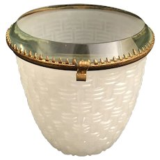 Antique French White Opaline Basket Weave Hinged Box ~ Amazing Thick Beveled Glass Top and S Clasp ~ RARE