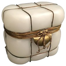 1860 French White Opaline Casket Hinged Box ~ A RARE Box that was Blown into a Wire Frame ~  Pretty Bow Wire Clasp