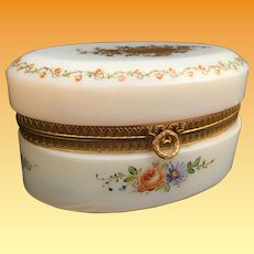 """19C Antique 6"""" French Bulle de Savon Opaline Oval Casket Hinged Box ~ Charming Hand Enameled Flower Garland ~  Exquisite Gold Flowers"""