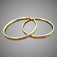 Precious Estate Vintage Beautiful Engraved Child Baby Gold Filled Bangle  Bracelets ~  Both Stamped ~ A RARE SWEET PAIR