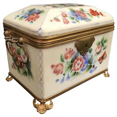 19C French Double Handle Opaline Casket Hinged Box Covered in Fabulous Hand painted Flowers ~ Ornate Mounts and Footed Base ~ A BEAUTY from My Treasure Vault