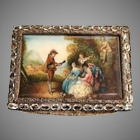 Italian Silver Jeweled Pastoral Compact  ~ Fabulous Pastoral Scene with Cherub, Dog and Group being Serenaded ~  Box is Circle in Oval Pale Blue Gems  ~  Gilt interior