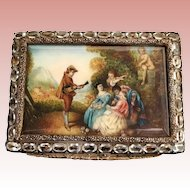 Gorgeous Italian Silver Jeweled Pastoral Compact Fabulous Pastoral Scene with Cherub, Dog and Group being Serenaded ~  Box is Circle in Oval Pale Blue Gems  ~  Gilt interior