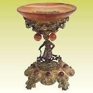 1900 French Enameled Blackamoor Jeweled and Agate Compote ~ Turquoise and Red Gems and Agate Balls