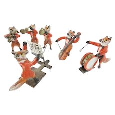 Antique Austrian Miniature Bronze FOX Band ~  Delightful Six Piece Fox Band Group ~ RARE and WONDERFUL!
