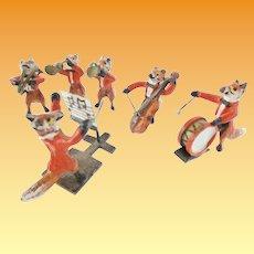 Antique Austrian Miniature Bronze FOX Band ~  Delightful Six Piece Fox Band Group ~ RARE and WONDERFUL!