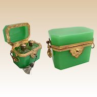 Antique French Green Opaline Double Handle Scent Casket ~ Two Wonderful Scent Bottles ~ Fabulous Fitted Interior