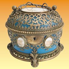 Antique  Blue Opaline Casket Hinged Box with Handle ~ A Grand Tour Treasure with 7 Miniatures  ~  Exquisite Ormolu and THE BEST Footed Base