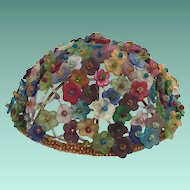 1920 Czech Glass Flowers Lamp Top ~ Oval  Dome Top ~ The Sweetest Little Flowers ~ It is a Prize!
