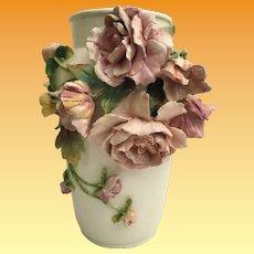 "Antique French Longchamp Majolica Flower Vase  ""MASSIVE 16 ½"" Vase   ~  GORGEOUS Applied Flowers"""