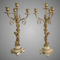 19C French Dore'  Bronze Cherub Candelabras  ~ Beautiful Gilt Ormolu and  White Marble  ~ THESE ARE  A WOW!  PAIR