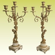 PAIR 19C French Dore'  Bronze Cherub Candelabras  ~ Beautiful Gilt Ormolu and  White Marble Stand ~ MAGNIFICENT