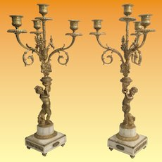 Magnificent PAIR Antique French Dore'  Bronze Cherub Candelabras  ~ Beautiful Gilt Ormolu and  White Marble Stand