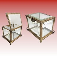 Exquisite Antique Miniature  Dore`Bronze and Glass Table Top Vitrine  Curio Casket ~   Top and Sides are Thick Beveled Glass and the Bottom is Mirror ~ ALL ORIGINAL!