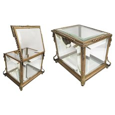 E  Antique Miniature  Dore`Bronze and Glass Table Top Vitrine  Curio Casket ~   Top and Sides are Thick Beveled Glass and the Bottom is Mirror ~ Display a Bunch of Treasures!