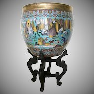 """19C Chinese 21 ½""""  Cloisonné  Enamel """"Birds in Paradise""""  Fish Bowl ~  Magnificent Birds and Glorious Colors"""