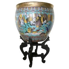 "19C Chinese 21 ½""  Cloisonné  Enamel ""Birds in Paradise""  Fish Bowl ~  Magnificent Birds and Glorious Colors"