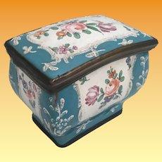 Antique Enameled  Metal  Hinged Box. Rare and Unusual Shape Hinged Box ~ Bilston -Battersea ~ A Wonderful Little Box from My Treasure Box.