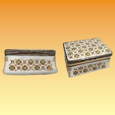 Antique Enameled  Metal  Hinged Box ~ White  Enameled Metal Hinged Box Covered with  Emerald Green and Gold Flowers ~ BEAUTIFUL!  Bilston - Battersea
