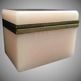 RARE Antique French Pink Opaline Casket  Hinged Box ~  Fabulous Fancy Gilt Greek Key Mounts ~ YummyBaby Pink Opaline