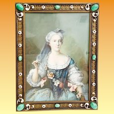 Antique Hand painted Miniature Portrait  Artist Signed  in the Grandest Austrian Bronze Jeweled Enamel Table Top Frame ~ A Prized Miniature and Fabulous Austrian Frame from My Treasure Vault