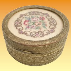 Antique French Gilt Box with Charming Petit Point Top Covered in Glass