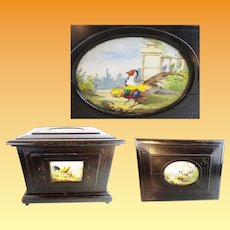 Antique French Tantalus Ebonized Wood Box with Two Rooster Plaques ~ The Hand painted Porcelain ROOSTER Plaques are WONDERFUL!