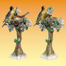PAIR Antique Sitzendorf Porcelain Bird Figurines ~ Charming Birds and Baby Birds in a Nest with Flowers  and Leaves  ~ STAMPED