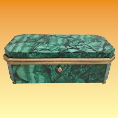 1840 Malachite Casket Hinged Box  ~  Fabulous Gilt Bronze Mounts and Footed Base ~ Original Interior ~  Exquisite Russian or French Malachite Casket