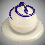 """Antique French White Opaline """"Sassy Cobalt Snake"""" Covered Box with Under-plate  ~ A Stunning White Opaline Fitted Plate Holder and Covered Box with a Snake"""