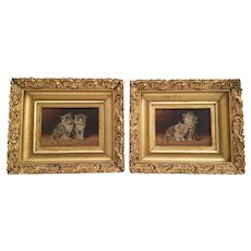 PAIR 19C Miniature KITTENS  Oil Painting on Canvas ~ A Charming Pair in Stunning Period Gilt Frames  and Signed McMurray