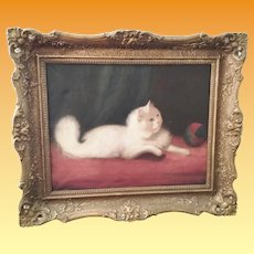 Precious 19C White CAT Painting ~ Cat with a Ball ~ Oil Painting w Nice Period Frame