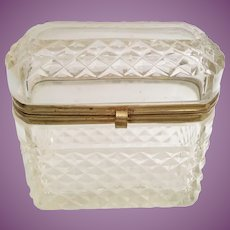 Lovely Antique French Cut Crystal Dome Top Hinged Box  ~ Smooth Gilt Mounts and S Clasp ~ Beautiful Cut and Shape