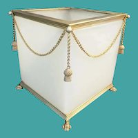 Antique French Opaline Paw Foot Cachepot ~ Beautiful White Opaline with Gilt Swags of Chain and Gilt Tassels