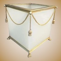 Gorgeous Antique French Opaline Paw Foot Cachepot ~ Beautiful White Opaline with Gilt Swags of Chain and Gilt Tassels