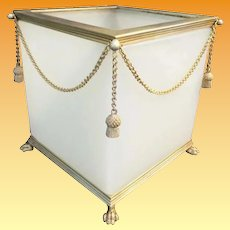 Antique French Opaline Paw Foot Cachepot ~ Beautiful White Opaline with Gilt Swags of Chain and Gilt Tassels ~ A MASTERPIECE