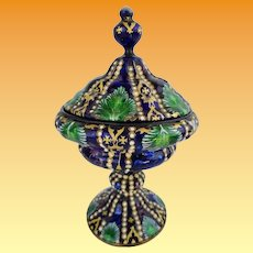 """Antique Austrian Enamel on Copper Covered Box ~  Exquisite Colors """"Emerald, Cobalt, Lavender"""" that are Highlighted by Gold Foil and Tiny White Gems"""