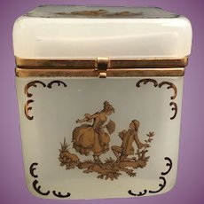 """Antique French Opaline Hinged Box """"Lovely Pastoral Scenes"""" ~ Smooth Gilt Mounts with and S Clasp ~ EXQUISITE  GILDING"""