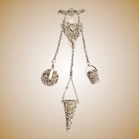 Antique Silver Chatelaine with Pin Cushion, Thimble and Holder, Scissor Holder all with Stamps ~  Ornate  Belt Clip with a Heart and Two Putti.