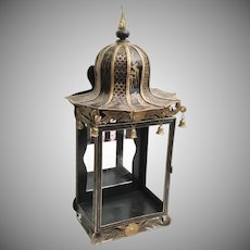Magnificent Chinoiserie Gilt Tole Mirrored Wall Table Vitrine Display Cabinet ~ RARE and WONDERFUL ~  Pagoda Top with Six Brass Bells