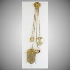 GRANDEST Gilt Silver Jeweled Chatelaine  ~ Jeweled Belt Clip, Purse, Thimble Holder. Heart & Rare Monocular ~ 1889
