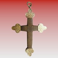 Antique 14KARAT Hair Cross Crucifix Pendant