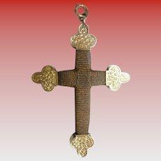 Antique 14KARAT Hair Cross Crucifix Pendant