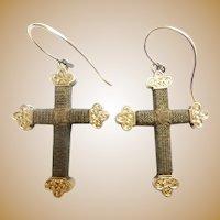14KARAT Hair Cross Crucifix Earrings ~ Beautiful Antique Hair Earrings ~  A Rare Mourning Hair Earrings from My Treasure Vault