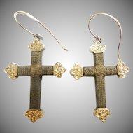 14KARAT Hair Cross Crucifix Earrings ~ Beautiful Antique Hair Jewelry Earrings ~  A Rare Mourning Hair Earrings from My Treasure Vault