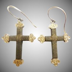 14KARAT Hair Cross Crucifix Earrings ~ Beautiful Antique Hair Jewelry Earrings ~  A Rare Mourning Hair Earrings from My Treasure Vault