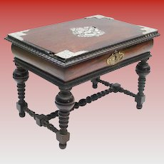 Antique Miniature Rosewood Library Table ~ Exquisite Silver Overlaid Top ~ A Charming  Well Made Miniature.
